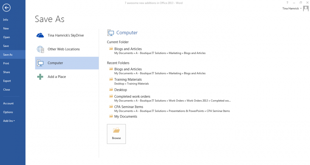 Sky Drive integration in Office 2013